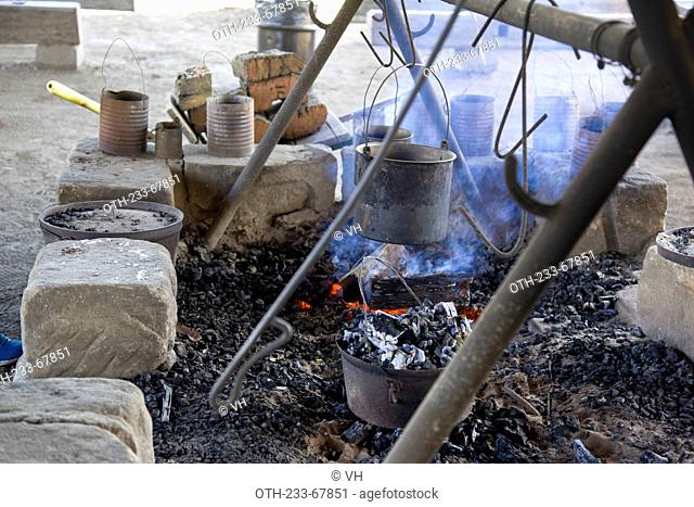 Drover's camp with open camp fire, Toburk farm, outback of Sydney, Australia