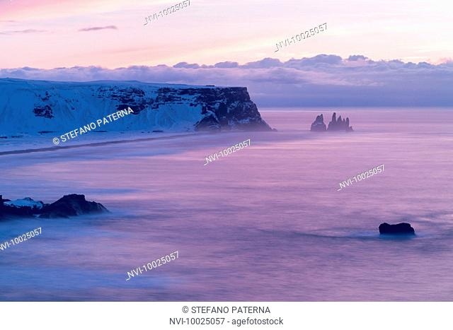 Reynisdrangar, black pinnacles off the coast of Vik i Myrdal, Iceland