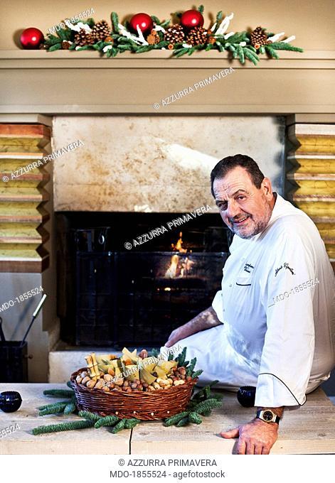 Italian chef Gianfranco Vissani posing during the photo shoot realized inside his restaurant. Terni (Italy), 29th November 2013