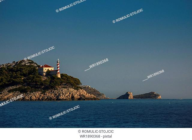 Lighthouse on rocky coast, Dugi Otok, Dalmatia, Croatia