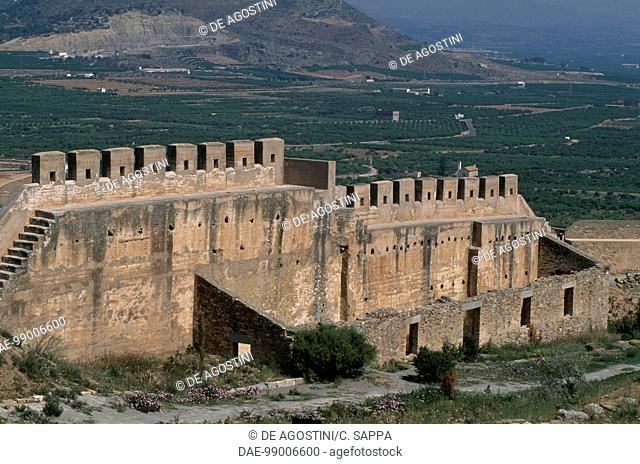 View of the walls of the citadel of Sagunto, Valencia, Spain