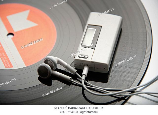 MP3 player on a vinyl record
