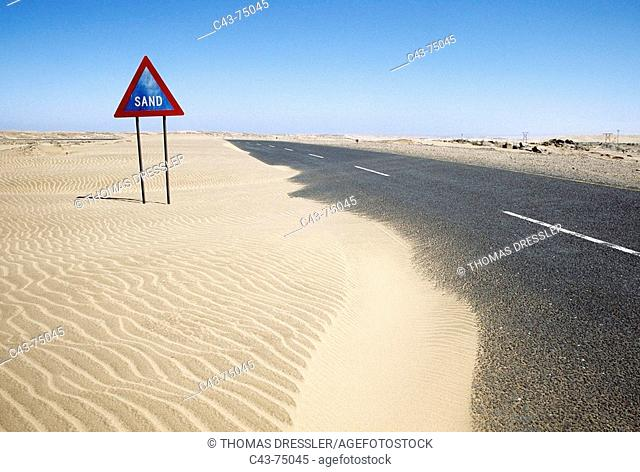 Traffic sign East of Luderitz. Namibia