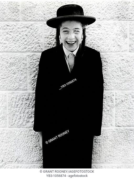 Portrait of an Orthodox Jewish boy , Old City of Jerusalem , Israel