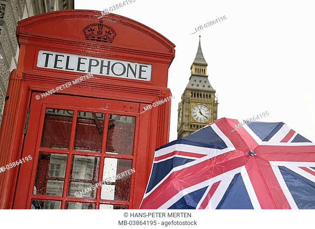 Great Britain, England, London, umbrella, telephone booth, Big Ben, detail