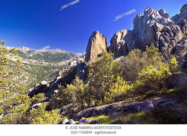Cliffs of the Camel in the Pedriza Regional Park Cuenca Alta del Manzanares Madrid Spain