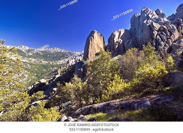 Cliffs of the Camel in the Pedriza Regional Park Cuenca Alta del Manzanares Madrid Spain