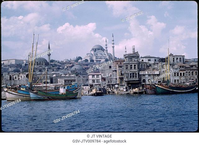 Süleymaniye Mosque and Golden Horn Harbor, Bosphorus, Istanbul, Turkey, 1959