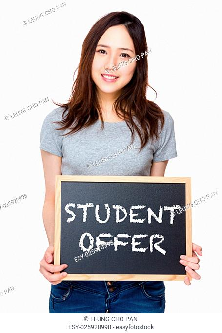 Woman hand hold with blackboard and showing student offer