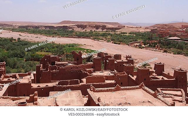 Ait Benhaddou - fortified city on the route between the Sahara Desert and Marrakech in Morocco, Africa
