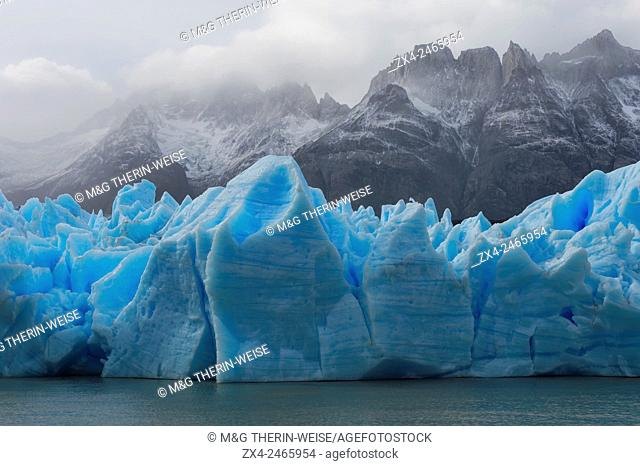Grey Glacier flowing into the lake, Lago Grey, Torres del Paine National Park, Chilean Patagonia, Chile