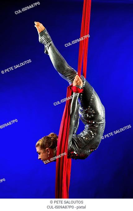 Woman performing acrobatics