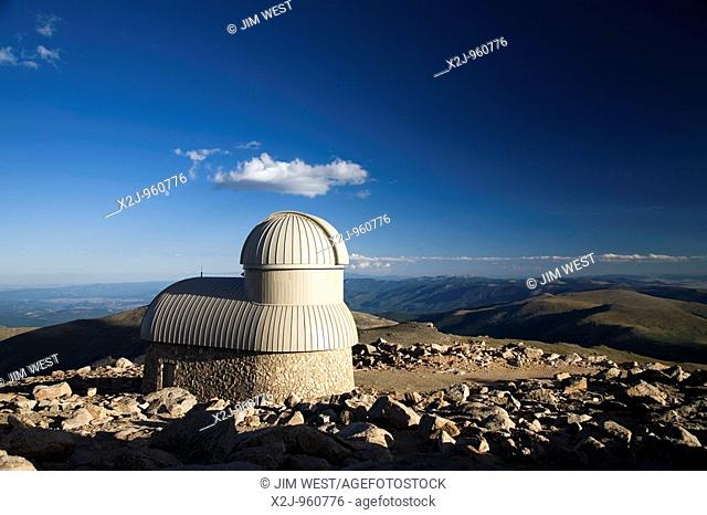 Idaho Springs, Colorado - The Meyer-Womble Observatory on top of Mt  Evans  At 14,148 feet, the observatory is the highest operating observatory in the world