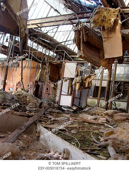 interior view of an abandoned collapsed structure