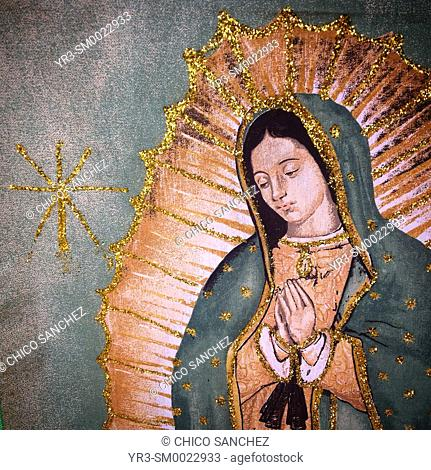 A banner with the image of Our Lady of Guadalupe during the annual pilgrimage to the Basilica of Our Lady of Guadalupe in Mexico City, Mexico