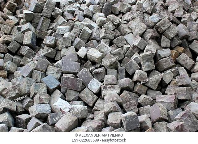 stone blocks prepared for making road
