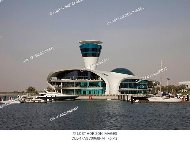 Modern building on urban harbor