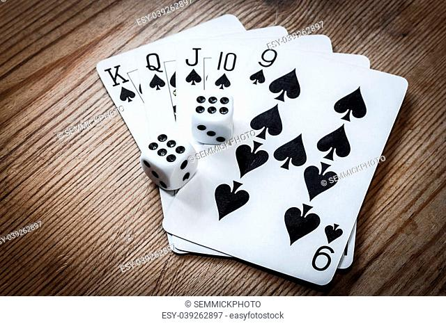 Poker hand cards and double six dice