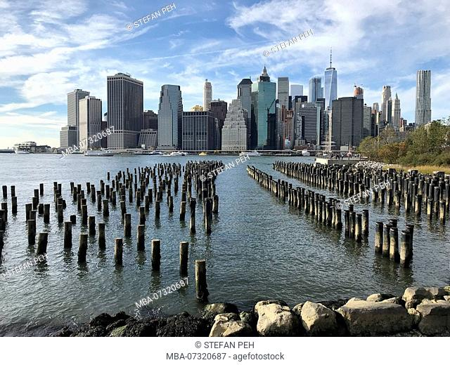 View at Lower Manhattan from Brooklyn park, New York city