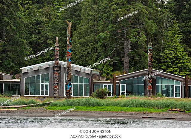 Haida Museum featuring recently carved frontal poles from Skidegate Inlet, Haida Gwaii (Queen Charlotte Islands)- Skidegate, British Columbia, Canada
