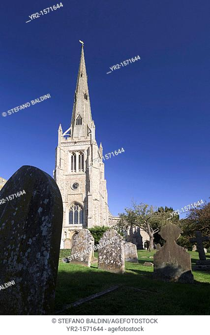 The tower of the church of St John the Baptist, Our Lady & St Laurence in Thaxted, Essex, England