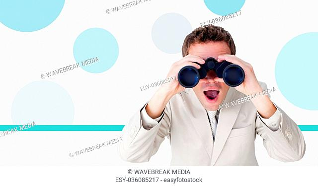 Businessman with binoculars and minimal shapes