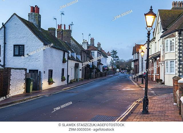 Evening in Rottingdean village, East Sussex, England
