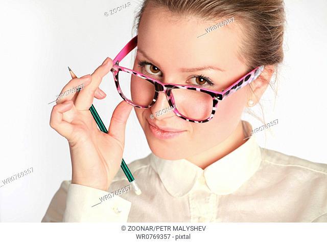 teacher in funny eyeglasses