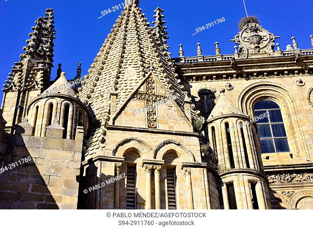 Detail of the cathedral or Santa Maria church in Plasencia, Caceres, Spain