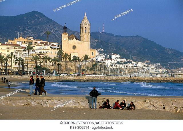 Sitges beach front.  Catalonia. Spain