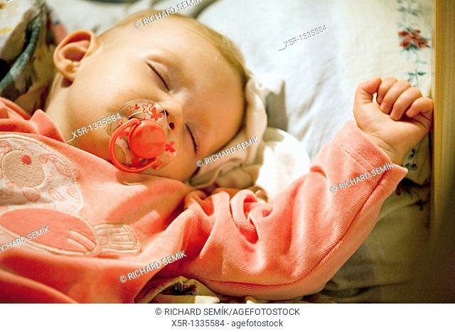 portrait of sleeping toddler girl