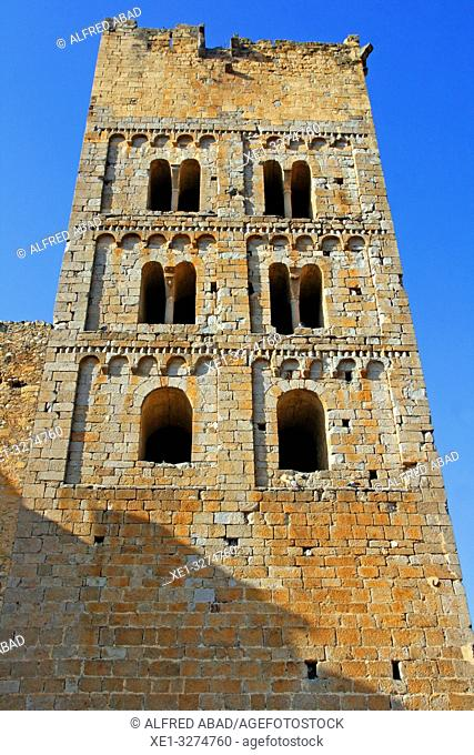 bell tower of the church of the Monastery of Sant Miquel de Fluvià, Girona, Catalonia, Spain