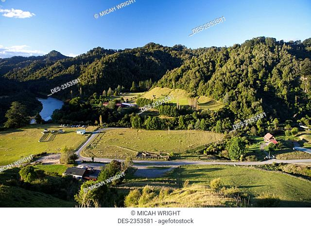 A view overlooking the Blue Duck valley at Blue Duck lodge, a working New Zealand farm located in the Whanganui National park; Whakahoro, New Zealand