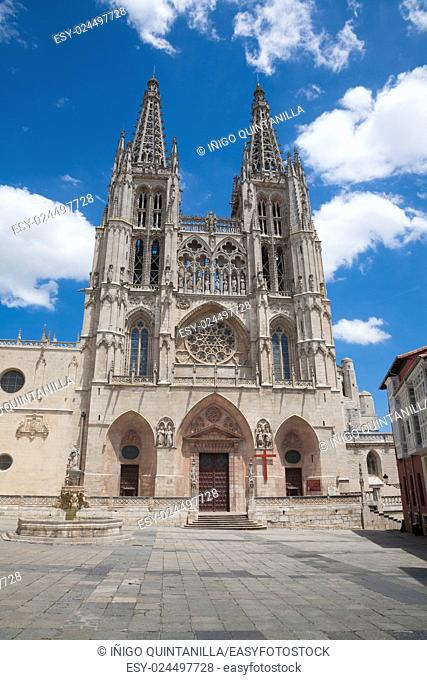 facade landmark of famous gothic catholic cathedral St Mary or Santa Maria, religious monument made in XIII Century, in Burgos city, in Castile and Leon