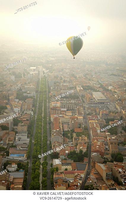 Aerial hot air balloon view Igualada, Barcelona Catalonia Spain