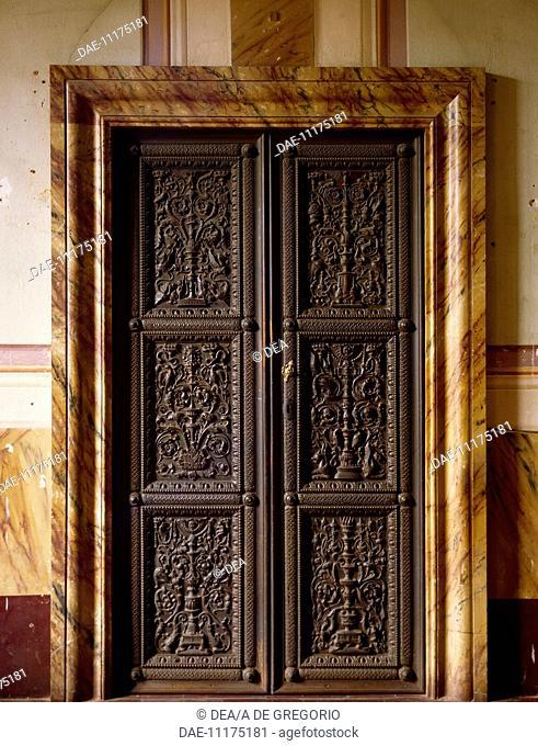 Carved door, by Fra' Giovanni da Verona (1457-1525), City Hall, Monte San Savino, Tuscany. Italy, 16th century