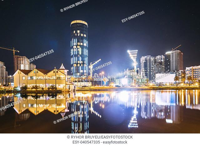 Batumi, Adjara, Georgia. Construction And Development Of Modern Multi-storey Residential Buildings And Hotels Near The Black Sea Coast In Night Illuminations...