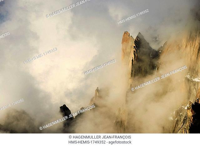 France, Haute Savoie, Chamonix, Aiguille des Deux Aigles (3487m) at sunrise, Mont Blanc Massif