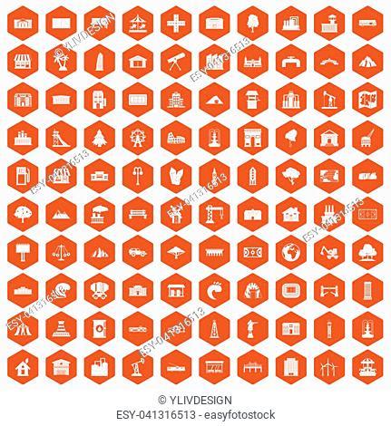 100 landscape element icons set in orange hexagon isolated illustration