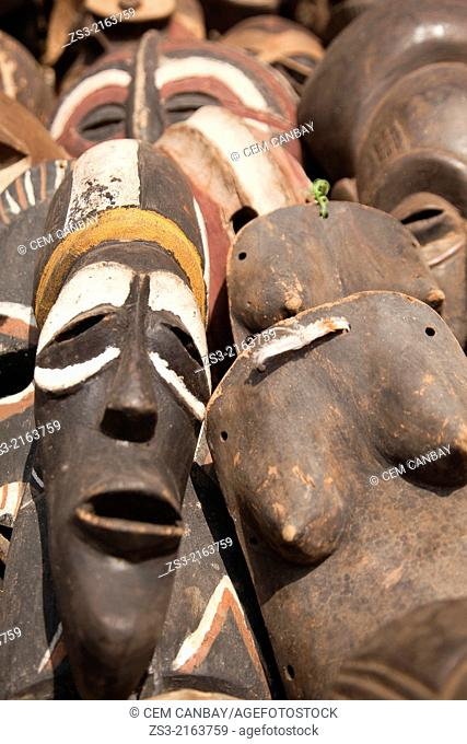 Close-up shot of wooden masks at the market, Stone Town, Zanzibar, Unguja Island, Zanzibar Archipelago, Tanzania, Africa