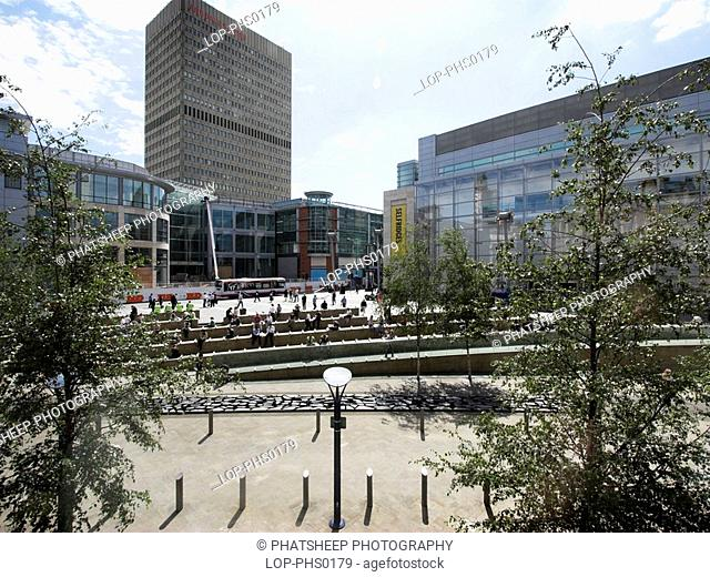 England, Greater Manchester, Manchester, View of Exchange Square in the city of Manchester