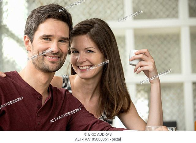 Couple at cafe, portrait