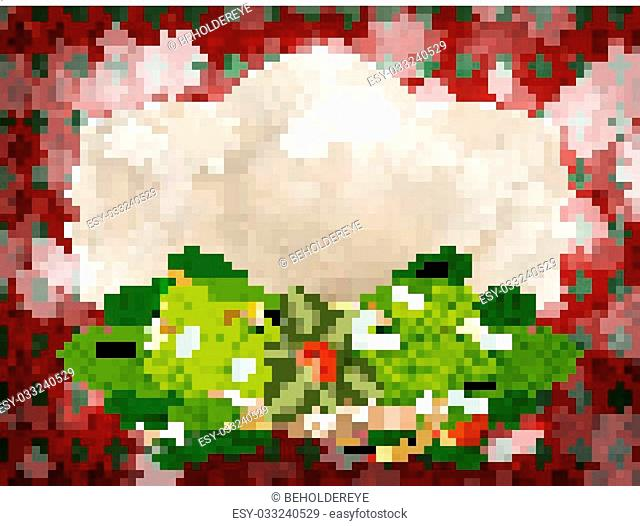 Background with Christmas bells, bow and snowflakes. EPS 10 vector file included
