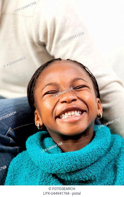 Portrait of black girl smiling