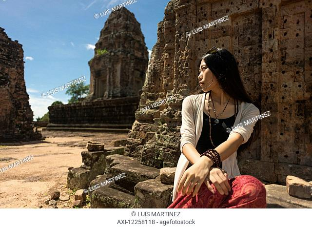 East Mebon Temple dedicated to Hindu god Shiva, built by the king Rajendravarman VII in tenth century, from Angkor; Siem Reap, Cambodia