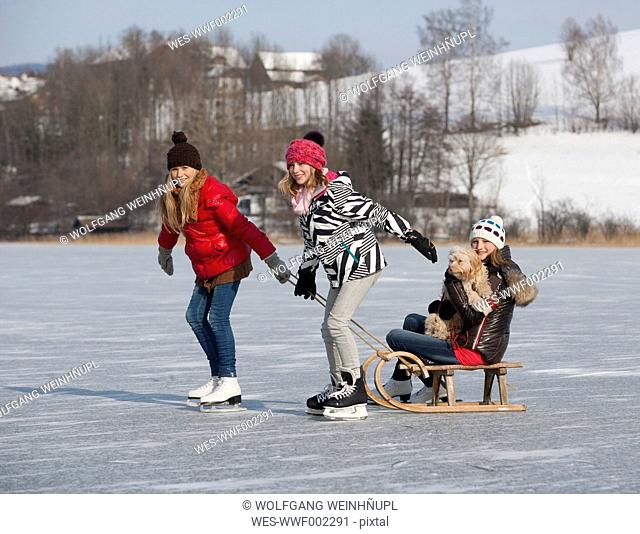 Austria, Friends pulling teenage girl sitting on sleigh with dog