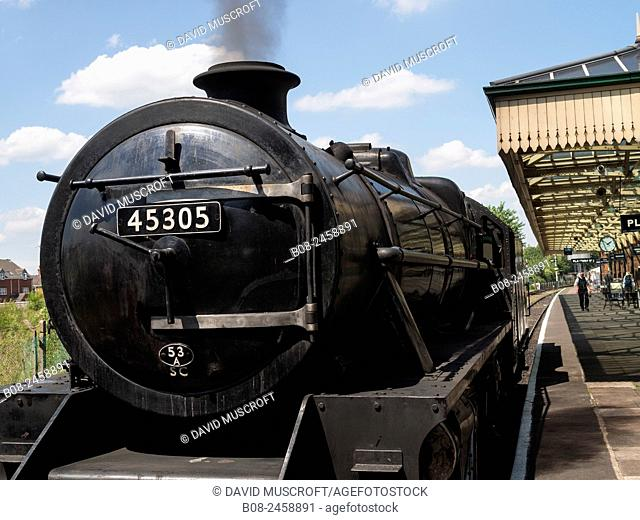 vintage steam locomotive at station, on the Great Central Railway in Leicestershire,UK