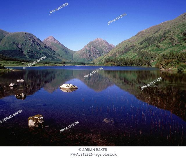Beautiful scene in Glen Etive with view of mountains reflected in the loch