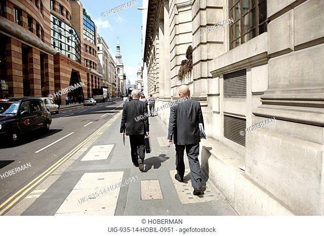 Businessmen Walking in Bank, London