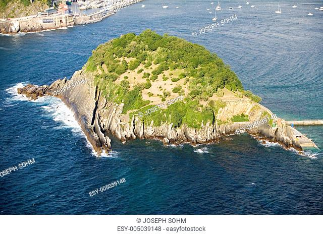 Isla Santa Clara Island in Bahia de La Concha, Donostia-San Sebastian, Basque region of Spain, the Queen of Euskadis and Cantabrian Coast